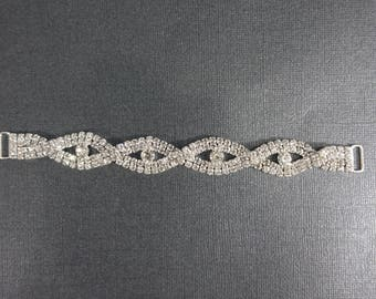 Braided jewel theme Clear Crystal connector for bikini or craft