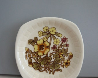 Royal Worcester Palissy Butter / Trinket / Pin / Nibbles Dish Primrose Primula Pattern Casual Tableware Retro Vintage Mid Century