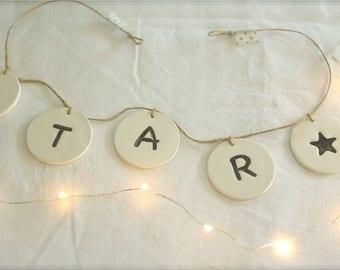 Message ★ Star Garland in white ceramic