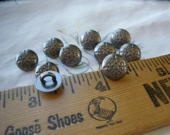 """Tiny Fleur De Lis Buttons Pewter color 16L (3/8"""" 9.5 MM) dark gray stamped design sewing craft metal dome shank paper tag supply steampunk"""