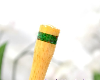 Wood Hairstick Green Hair Pin Banded Hair Stick 6 inch Hairpin