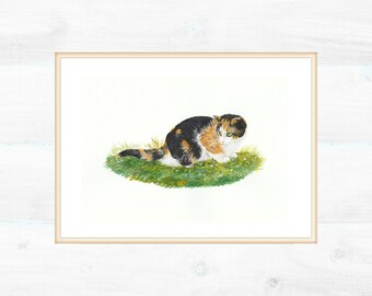 Personalized portrait of a cat, painted with watercolors and acrylic colors. Measures of the cat 8x16 cm