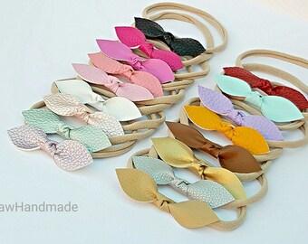 Baby headbands, Girl Headband, Nylon Headband , Faux leather knot bow headband - choose your color