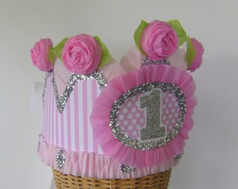 1st Birthday Crown, 1st birthday Hat, 1st birthday party hat, pink birthday hat, baby birthday hat, customize