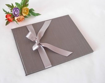 Guestbook unlined - grey/taupe cloth with silver satin ribbon - (8x9in 20x23cm) - Ready to ship