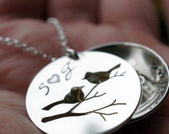 Family Bird Locket in Sterling Silver - Hand Cut Bird Nest Necklace by EWDJewelry - Jewelry Gifts for Mom - Personalized Grandmother Jewelry