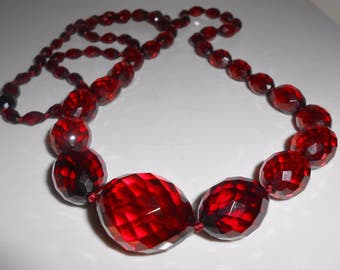 """Cherry Amber Faceted Graduating Opera Length Necklace 44 Grams 34"""" Antique"""