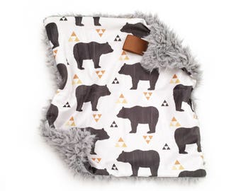Lovey Bears and Triangles. Lovey. Bear Lovey. Woodland Lovey. Mini Baby Blanket. Security Blanket. Lovie. Minky Lovey.