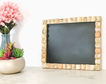 Wine Cork Chalkboard, Cork Board with Chalkboard, Message Center, Home Organization, Wedding Chair Sign, Kitchen Chalkboard, Gift for Her