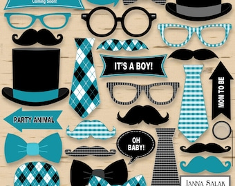 Amazing Printable Little Man Photo Booth Props Baby Shower Black And Teal Blue Pdf  DIY INSTANT DOWNLOAD LM007