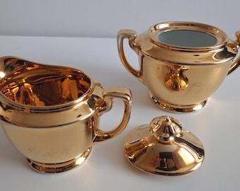 Noritake Hand-Painted Gold Sugar Bowl and Creamer