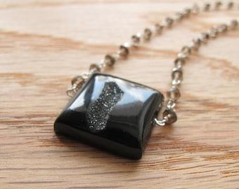 Raw Black Druzy Necklace- Raw Crystal Gemstone Necklace- Raw Geode Beaded Necklace- Boho Rough Stone Necklace Raw Necklace Bohemian