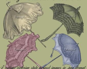 Vintage Victorian Parasols 2 - Digital Scrapbooking and Crafting Clipart Graphics