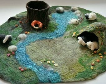 Waldorf Play Mat 3D Table Playmat Landscape Playscape  Play-mat Pretend Gift for kid child Steiner tree cave story telling felted trunk