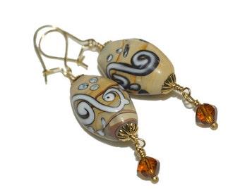 Geometric Jewelry Brown Light Kazuri Bead Earrings  Boho Chic African style