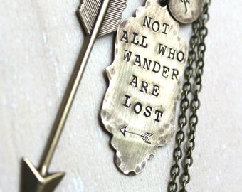 Sale. Brass Handstamped Ornate Tag and Arrow. Not All Who Wander Are Lost. Personalized with initial