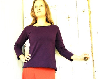 Simple 3/4 Sleeve Top - Organic Fabric - Made to Order - Choose Your Color