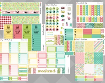 In Bloom DELUXE Kit | floral, pastel, bloom, plants, pink, blue, green, yellow | Weekly Planner Stickers sized for Erin Condren Vertical