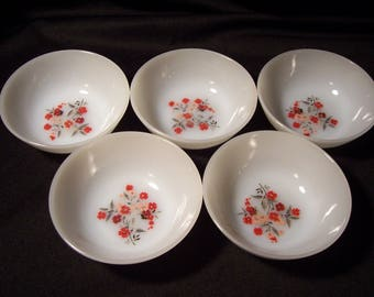 Fire King Primrose Berry Bowls by Anchor Hocking Set of 5