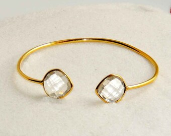 Bangles - Crystal Quartz Bangles -  Gemstones Bangles  - Sterling Silver 18k Gold Plated Smooth Finished Adjustable Bangle