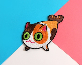 calico cat seal embroidered patch