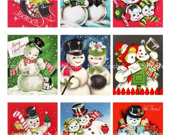 Digital Clipart Instant Download Vintage Christmas Card Snowman Snow Couples Candy