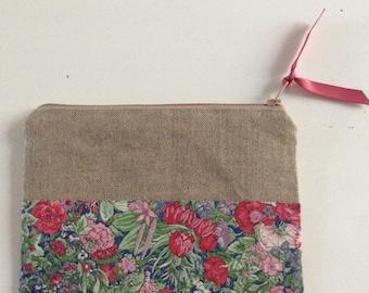 Linen and Liberty, make-up bag, clutch purse bag clutch