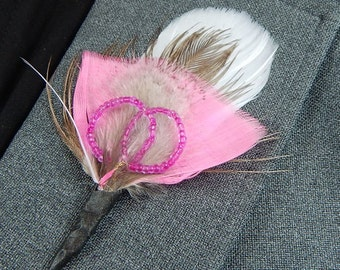 Rustic Pink Feather boutonniere