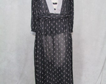 1920s Dress Large Size Cotton Sheer Vintage Day Dress Black White Design