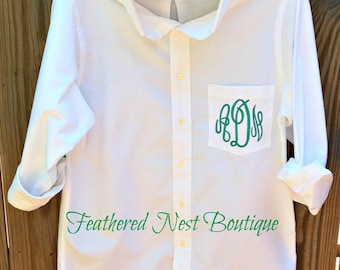 Monogram Bridesmaid Shirt - Monogrammed Boyfriend Shirt - Bridal Party Prep Shirts - Monogram Button Up Shirt - Bridesmaid Shirt - Brides