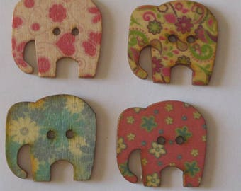 4 Wooden Elephant Buttons, Multi Color Buttons - #SB-00374