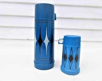 Vintage Aladdin Thermos | Thermos Brand | Coffee Thermos | Camping Gear | Harlequin | Drink Dispenser | Lunch Thermos - Lot of 2