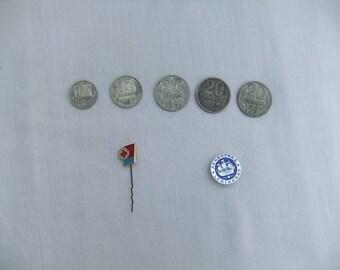 Set of Soviet Badges, Coins - Soviet vintage,Made in USSR,