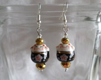 Maneki Neko Lucky White, Black and Gold Cats Earrings