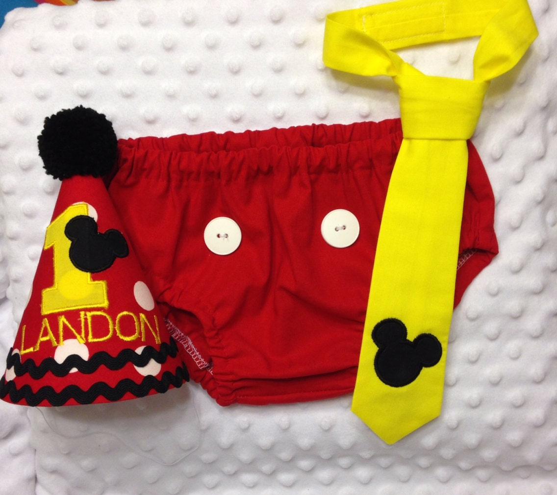 Mickey Mouse 1st Birthday Smash Cake: Boys Cake Smash Outfit Mickey Mouse Diaper Cover Tie