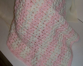 Crochet Baby Blanket Made of Pink and White Stripes