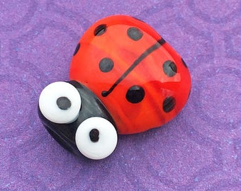 Red Glass Ladybug Bead, SRA Handmade Lamp Work, about 17mm x 15mm with a 2mm hole - C