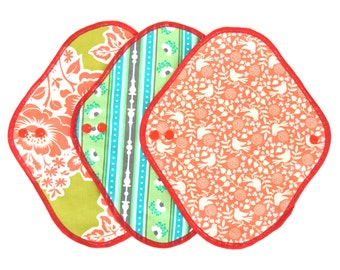 Set of 3  Cloth Menstrual Pad 7.5inch 10inch /Orange Pigeon/Country stripe/Hawaiian bouquet/  Cotton flannel and hemp absorbent pad