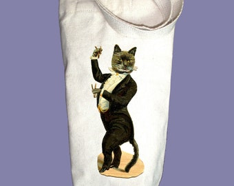 Victorian Tuxedo Cat Illustration Canvas Alcohol/Wine Gift Bag