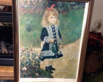 Vintage 1950s Renoir Girl with Watering Can print. Large size free ship to US.