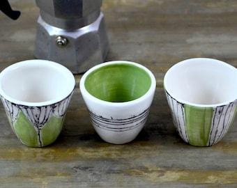 Set three coffee cups