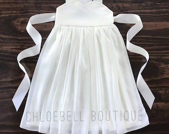 Toddler Floor length flower girl dress- Sweetheart Ivory chiffon dress - Ivory chiffon flower girl dress - Toddler beach wedding