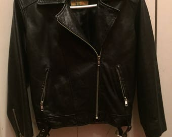 Kids Genuine Leather Punk Biker Jacket - Sz Med