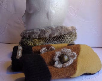 Cowl and Mitten Set, Wool Mittens,Women Mittens, Warm Mittens, Christmas Gifts, Recycled Mittens, Faux Fur Cowl, Brown Mittens