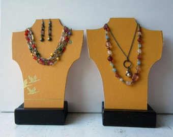 SALE Pair Book Necklace Bust and Earring Displays - Fall Jewelry Display - Book Covers - Craft Show Display - Ready to Ship