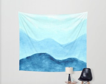 Blue Mountains Wall Tapestry, blue wall tapestry, blue wall hanging, mountain tapestry, mountain wall, mountains tapestry, dorm room decor