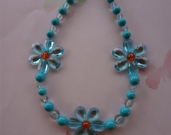 Chunky Bright Blue Flower Beaded  Necklace  item 401