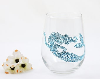 Personalized mermaid wine glass, Gift for her, Cute gift, Mermaid Love, Hand painted stemless glass - Sea Glass Collection