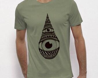 Hand Screenprinted T-shirt / Drop / Light khaki