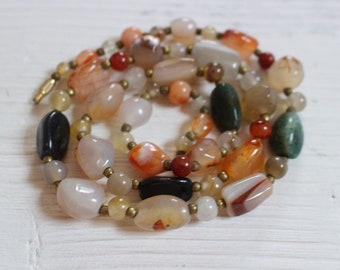 Vintage mixed agate nugget necklace